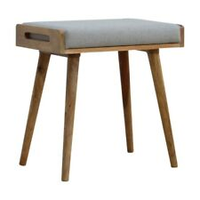 Scandinavian Nordic Style Footstool Upholstered in Grey Woollen Tweed Tray Stool