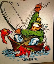 VINTAGE 1970s COMICAL FISHERMAN IN BOAT IRON-ON T-SHIRT HEAT TRANSFER FULL SIZE