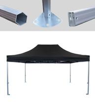 MCD Pro Tent™ Hex 50mm Black Industrial Gazebo 3m x 4.5m Easy Up Market Stall