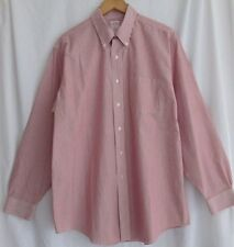 Brooks Brothers 346 red white striped print dress shirt size 16.5 34 35 non iron