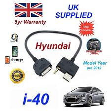 For Hyundai i40 iPhone 3gs 4 4s iPod USB & 3.5mm Aux Audio Cable Pre 2012