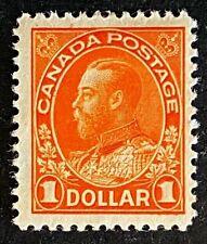 Canadian Stamp, Scott #122 1 Dollar King George V 1923 VF M/H. Orange color.