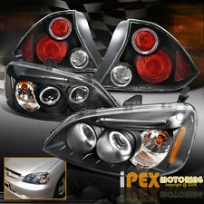 2001 02 2003 Honda Civic 2Dr Projector LED Headlight + JDM Black Halo Tail Light
