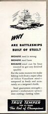 1950 Print Ad True Temper Fishing Rods Built of Silico Vanadium Steel Battleship