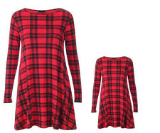 MOTHER & DAUGHTER RED TARTAN SWING DRESS WOMENS LADIES GIRLS KIDS SKATER TOP NEW