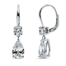 BERRICLE Sterling Silver Pear Cut Cubic Zirconia CZ Leverback Dangle Earrings