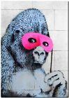 "BANKSY STREET ART CANVAS PRINT Ape gorilla 18""X 12"" stencil poster"