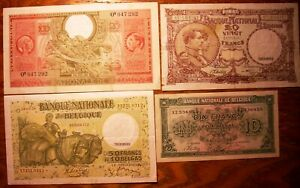 4 Belgium Banknotes 100 50 20 10 Francs 1938 1943 1944 P123 P106 P111 Unc