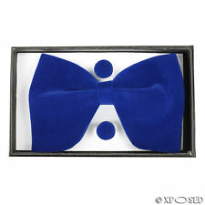 Mens Velvet Adjustable Large Bowtie Cufflink Hankie Wedding Party Smart Neck Tie Royal Blue