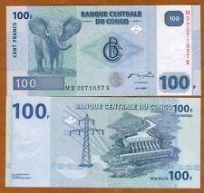 Congo D.R. 100 Francs, 2007 P-98, UNC > Elephant