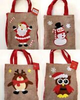Set of 4 Christmas Burlap Bag Treat Bag Candy Lolly Party Bag Santa Reindeer