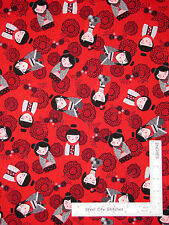 Asian Doll Girl Flower Red Cotton Fabric Kanvas Studio Little Harajuku - Yard
