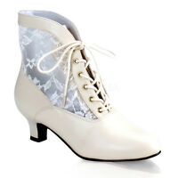 Ivory Cream Vintage Bridal Victorian Granny Boots Low Heel Shoes 6 7 8 9 10