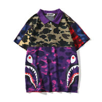 2019 New Mixed Color Camo Bape A Bathing Ape T-shirt Tee Shark Head Short Sleeve