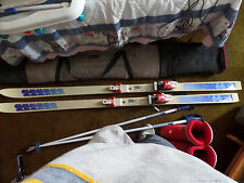 185MM K2 Downhill skis, boots, poles, storage bag, and ski lock