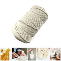 100m 5mm Natural Craft Macramé Cotton String Artisan Thread Twisted Cord