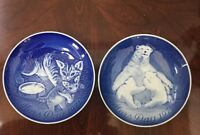 Vintage Copenhagen Porcelain Mothers Day Plates Cats-1971 Polorbears -1974