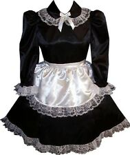 """Trisha"" CUSTOM FIT 2pc Satin French Maid Apron Adult LG Baby Sissy Dress LEANNE"