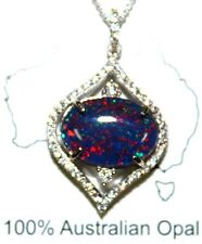 Lady Gift For Xmas Natural Opal Necklace Pendant Solid Sterling Silver