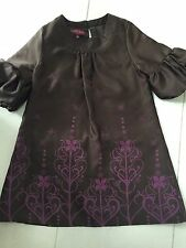 Beautiful Ted Baker Girls Brown & Purple Occasion Dress Age 5
