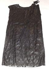 """BNWT MINIMUM NETE CHEST 40"""" 102cm BLACK SEQUIN SILVER PARTY TUNIC DRESS"""