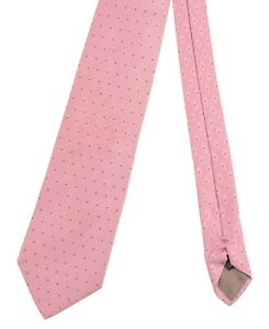 Giorgio Armani Made in ITALY Pink Woven Diamond Green Dot Pattern Satin Silk Tie