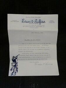 1942 Letter Of Recommendation Evans & Balfour Sporting Goods Specialist Signed b