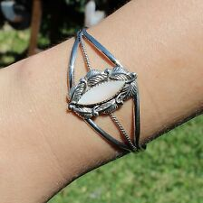 Sterling Silver Vintage Navajo Cuff Bracelet Mother of Pearl