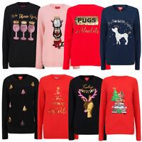 Merry Christmas Women's Xmas Jumper Sequin Gin Penguin Reindeer Tree Sweater Top