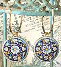 Colorful Mandala Flower and Gold Hoop Earrings. Boho Chic. Blue Denim
