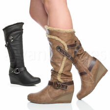 Women's Mid-Calf Wedge Zip Synthetic Leather Boots