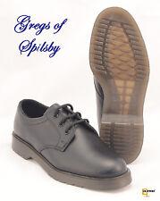 Black Leather Plain Uniform Work Shoes With Air Cushion Soles Sizes 6-14