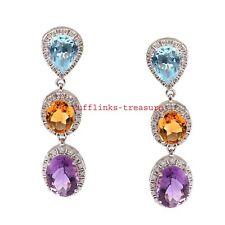 Natural Amethyst Citrine Blue Topaz Gemstones With 925 Sterling silver Earrings