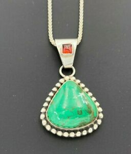 STERLING SILVER 925 GREEN TURQUOISE & GARNET DROP PENDANT POPCORN CHAIN NECKLACE