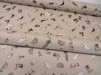 Cats & Dogs Cartoon Drawing Linen Look Cotton Fabric Curtain Upholstery Quilting