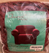Chezmoi Collection- Burgundy Micro Suede Chair Slipcover -One Piece