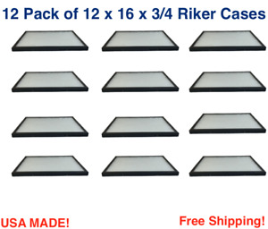12 Pack of 12 x16 x 3/4 Riker Display Cases Boxes for Collectibles Arrowhead