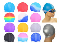 ADULT SWIMMING HAT Durable Elastic Silicone Pool Beach Swim Head Cap Summer UK