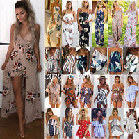 Womens Holiday Playsuit Jumpsuit Off Shoulder Summer Beach Shorts Dress Sundress