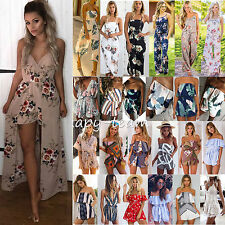 Womens Holiday Playsuit Maxi Jumpsuit Romper Summer Beach Shorts Dress Sundress