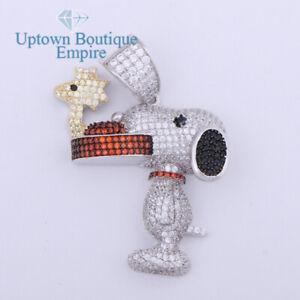 Multicolored Snoopy Dog Men Women's 925 Sterling Silver Diamond Pendant Charm*AA