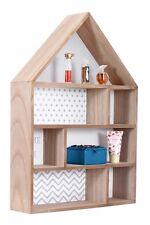Large Wooden Wall Unit Display Shelf House Shape Storage Shelves Home Decoration