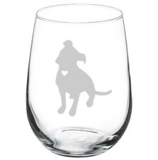 Stemless Wine Glass Goblet 17oz Cute Pitbull with Heart