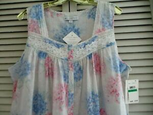 EILEEN WEST LONG NIGHTGOWN SLEEVELESS SWISS DOT COTTON MULTICOLOR  FLORAL L NEW