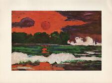 """1959 Vintage EMIL NOLDE """"TROPICAL SUN"""" BEACH SUNSET WOW! COLOR Offset Lithograph"""