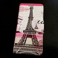 For HTC Desire 530 - Pink Paris Eiffel Tower Card Wallet Diary Pouch Case Cover