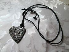 """SIGNED MISS SIXTY FASHION NECKLACE --ITALY-15"""" CORD-SILVER TONE CABBED-DIAMOND?"""