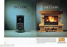 PUBLICITE ADVERTISING 116  1988   les Cheminées feu de bois Godin (2p)