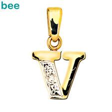 9k Solid Yellow Gold Diamond Letter Initial V Pendant 62050/v