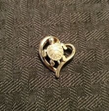 Sterling Silver 925 Heart Pendant With Turtle